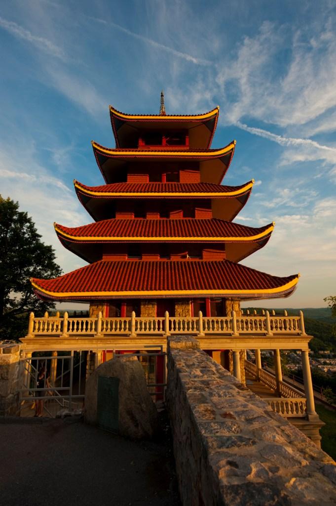 reading pagoda sunset