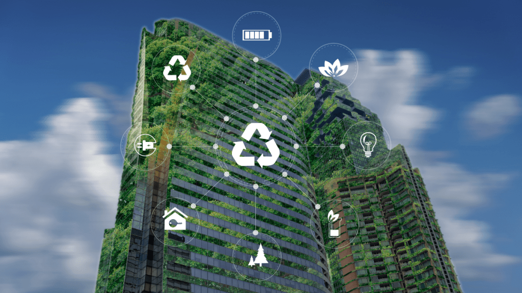 Sustainable Tower Building with Vegetation Growing and diagram showing different sustainable icons.